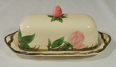 Franciscan USA Desert Rose Finial Covered Butter Dish Flying F Mark Excellent