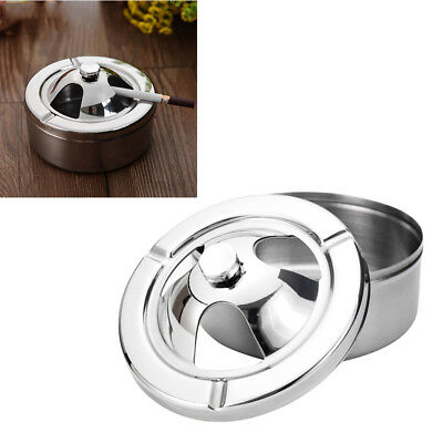 1pc Stainless Steel Ashtray with lid Windproof Ash Holder for Home Decor Outdoor