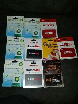 Lot 10 new Empty Gift Cards,  Zero balance unactivated sealed to cardboard still