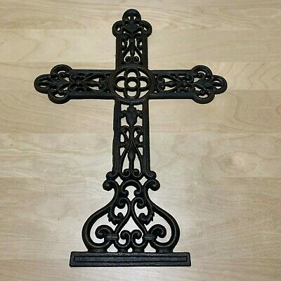 EUC-Decorative Wrought Iron Cross Metal Large Dark  Wall Plaque Rustic Garden
