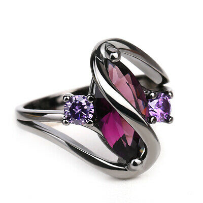 Exquisite 925 Silver Ring Marquise Cut Amethyst Topaz Women Promise Size5-10