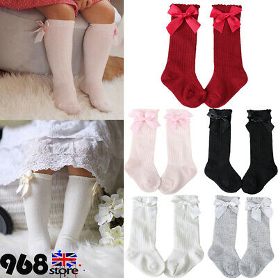 Girl Kids Knee High Cotton School Socks Bow Frilly Lace Bow Stocking Hot~ lskn