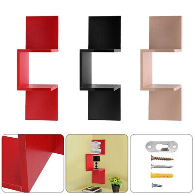 2 Tier Corner Shelf Floating Wall Shelves Storage Display Books Home Decor