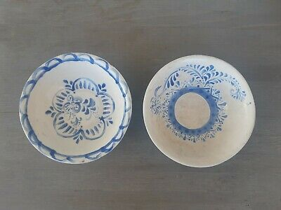 lot 2 Antique handmade hand painted blue & white bowl ottoman persian Ceramic