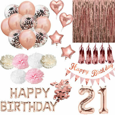 Rose Gold Happy Birthday Bunting Banner Balloons Fringe Curtain Party Decoration