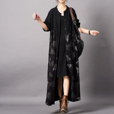 Ethnic Womens Cardigan Long Cotton Linen Loose Maxi Jacket Outwear Trench Coats