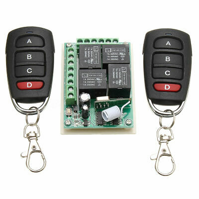 12V 4CH Channel 433Mhz 100M Wireless RF Remote Control Switch + 2 Transimitter