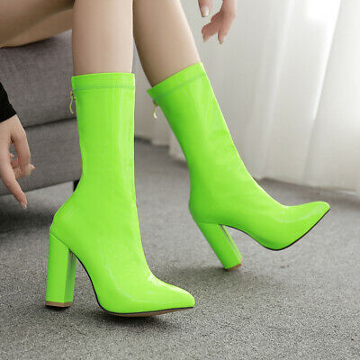 Women Block High Heel Pointed Toe Candy Color Mid Calf Boots Back Zip Fashion