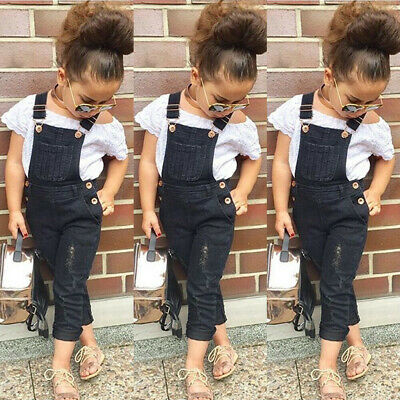 Toddler Kids Baby Girls Summer Clothes Short Sleeve Tops+Jeans Bib Pants Outfits
