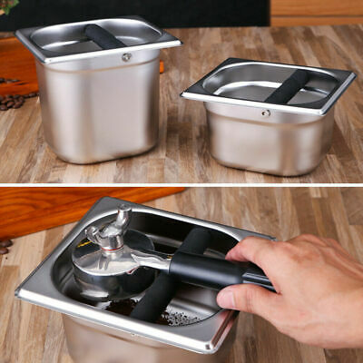 Stainless Steel Coffee Grounds Knock Box Espresso Waste Bin Recycle Holder Case