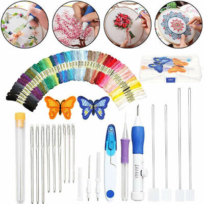 DIY Embroidery Pen Magic Knitting Sewing Tool Kit Punch Needle + 50 Threads