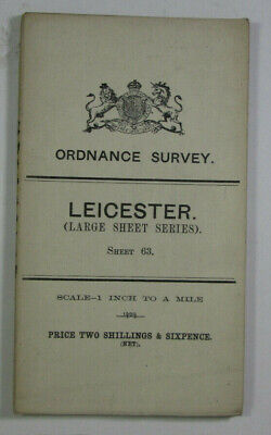 1909 Old OS Ordnance Survey One-Inch Third Edition Large Sheet Map 63 Leicester