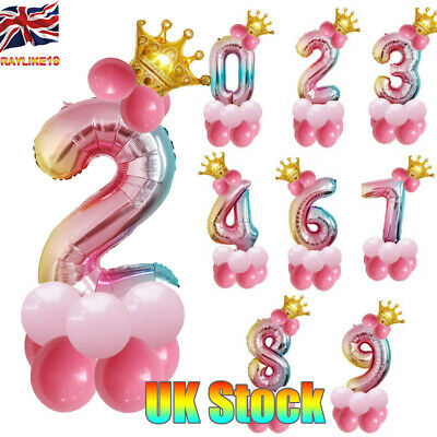 14 Pcs Kit Balloon Number Foil Balloons Wedding Event Party Photo Rainbow Color
