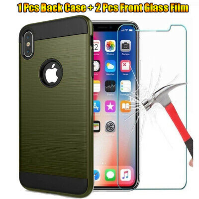 360 Shockproof Case Cover+2 Pcs Tempered Glass Film For iPhone XR XS 8 7 Plus 6S