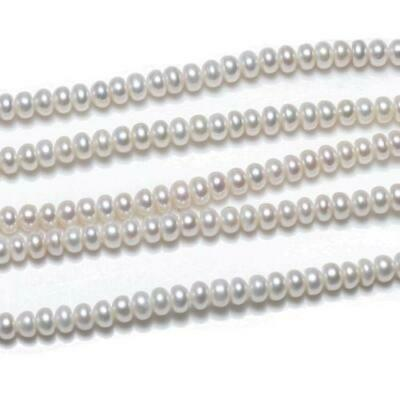 Freshwater Pearl Plain Rondelle Beads 6-7mm Pale Cream 6 Pcs Art Hobby Jewellery