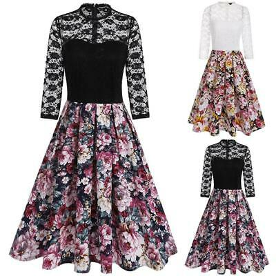 New Women Vintage Styles O-Neck Three Quarter Sleeve Lace Patchwork Prints LM 03