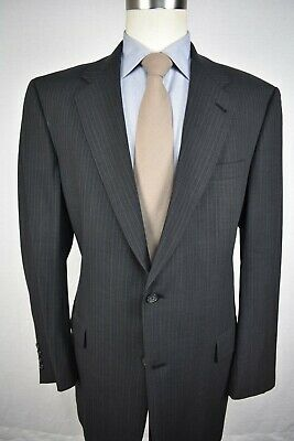 Hart Schaffner Marx Gray Pinstripe Worsted Wool Two Button Two Pc Suit Size: 44L