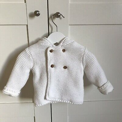 M&S Cream Ivory White Knitted Jacket Coat w Bear Ears (3-6 Months)