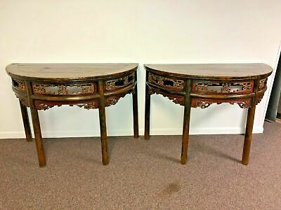 Pair of 19th C Chinese Antique Lacquered Elm Wood Half Moon Hall Console Tables