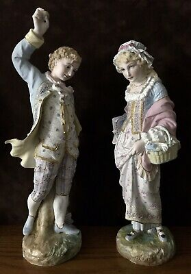 Antique French Vion Et Baury Pair Of Bisque Figurines Of Kids