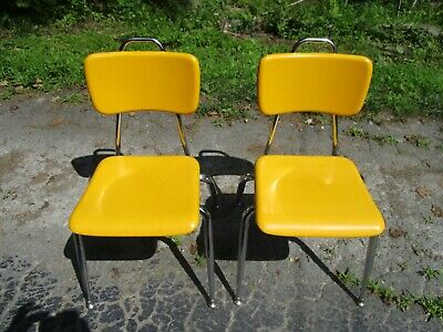 Vintage Artco-Bell Corp Yellow Stack Chair Retro Desk Chair Mac & Cheese Color