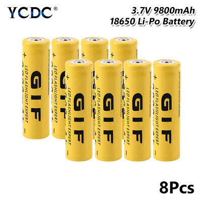 18650 battery for flashlight torch rc toy 3.7v 9800mah rechargeable cell 8pcs B