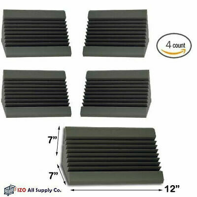 (4 PACK) 7 x 7 x 12 Inches Acoustic Wedge Studio Soundproofing Foam Bass Trap