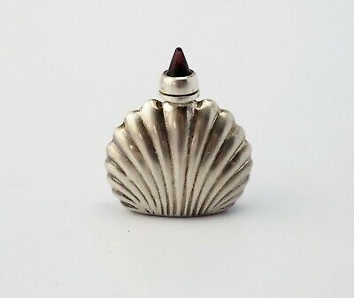 Vintage sterling silver Art Deco seashell jeweled parfume vial bottle Mexico