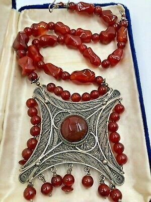 Antq Necklace Art Deco Chinese Export Brgt Red Carnelian Nuggets Sterling Silver