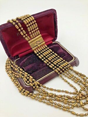 Antique Georgian Victorian Brass Gold Overlay Multi Chain Necklace 7 MultiStrand