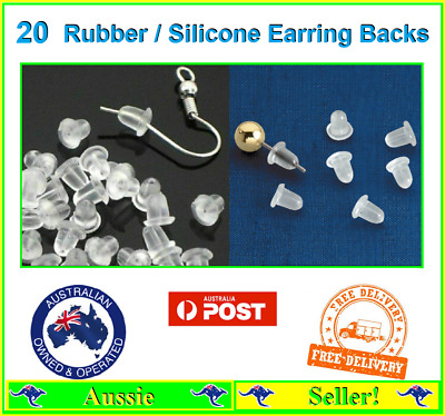 Pack of 20x Rubber Earring Back Backs Backing Stoppers Jewellery Bullet NEW