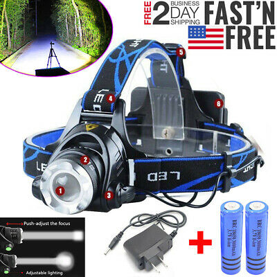 900000LM Rechargeable Head Light T6 LED Tactical Headlamp Flashlight Torch Lamp