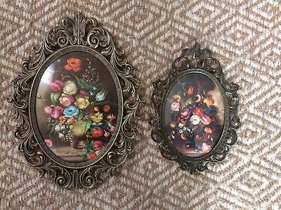Vintage MCM Mid Century Brass, Convex,Domed Glass Frame Floral Picture Set ITALY