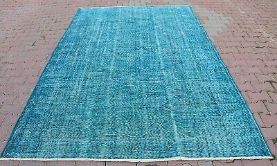 Vintage Turkish Anatolian Overdyed Turquoise Color Distressed Area Rug 6.2x9.8'