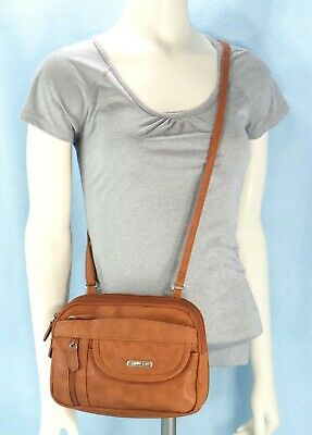 MultiSac Crossbody Bag Shoulder Travel Purse Wallet Brown Faux Leather M $50 EXC