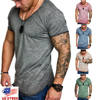 Men's Fashion Casual Fit Short Sleeve Slim Muscle Bodybuilding T-shirt Tee Tops