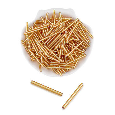 155pcs/50g Glass Bugle Seed Beads Smooth Straight Long Tubes Gold Spacer 31~34mm