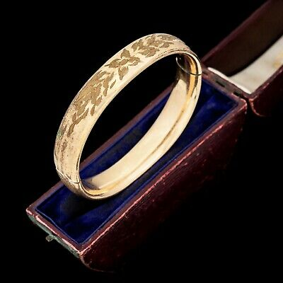 Antique Vintage Deco 12k Gold Filled GF CARL ART Hinged Wedding Bangle Bracelet
