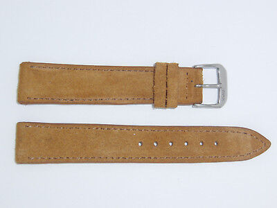 "RIOS1931 Genuine Suede Leather Watch Band Strap 18 mm Brown Cognac ""Tompson"""