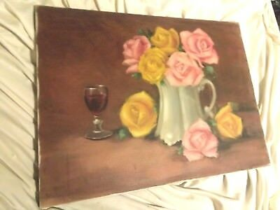 VINTAGE OIL ON CANVAS STILL LIFE PAINTING Pink Yellow  ROSES FLOWERS SIGNED