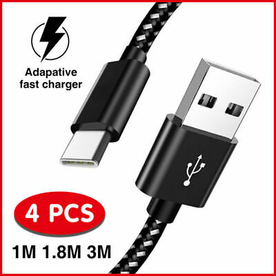 3/6/10FT Braided Type C Fast Charging Cable Power Data Sync USB-C Charger Cord