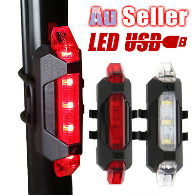 5 Cycling USB Bike LED Light Bicycle Warning Rear Rechargeable Tail Safety