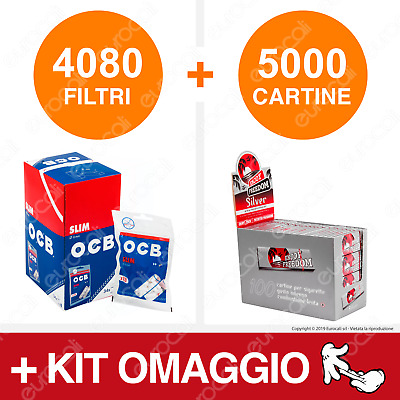 4080 Filtri OCB Slim 6mm 5000 Cartine Enjoy Freedom Silver Corte + Kit Omaggio