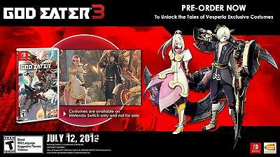 God Eater 3 (Nintendo Switch) DLC Key Code Tales of Vesperia Costumes USA/CAN