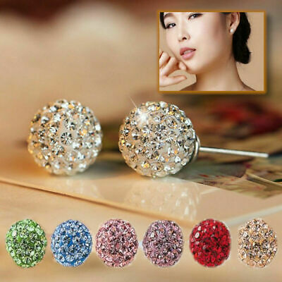 925 Sterling Silver Creative Bright Round Crystal Charm Disco Ball Stud Earrings