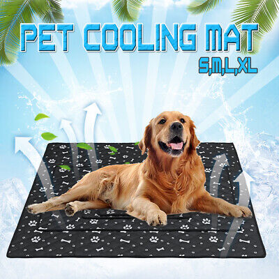 M/L Dog Cooling Mat Pet Cat Chilly Non-Toxic Summer Cool Bed Pad Cushion Indoor