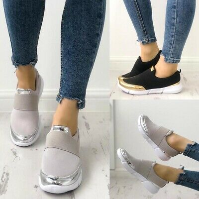 Womens Slip On Trainers Sneakers Breathable Sport Running Comfy Shoes Size 3-7