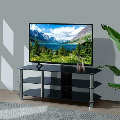 3 Tier Tempered Glass TV Stand Stainless Steel Shelves Stroage Home Living Room
