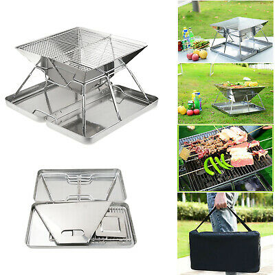 Steel BBQ Barbecue Grill Folding Portable Charcoal Stove Camping Garden Outdoor