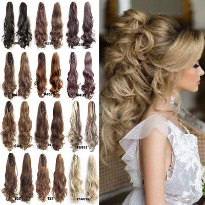 100% Real Thick Long Claw Clip in Ponytail Straight Wavy Hair Extensions Jaw On